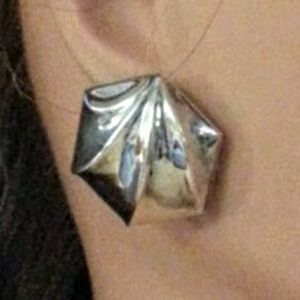 """Vintage sterling large """"button"""" post earrings"""